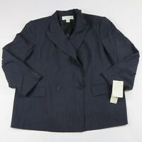 NWT- JONES NEW YORK Navy Pinstripe Double Breasted Blazer Jacket Size 20W