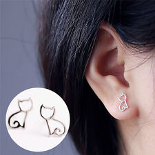 1 Pair Silver Plated Elegant Earrings Lovely Hollow Out Cats Cartoon EarringsMSK