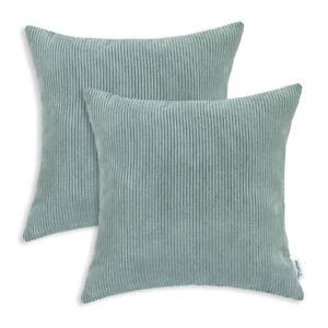 "2Pcs Duck Egg Pillow Covers Shell Case Home Sofa Decor Corduroy Stripes 20x20"""