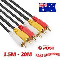Long 3RCA 3 RCA Male M/M Stereo Audio Video DVD HDTV AV Cable Copper Cord 20m 5m