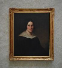 19th c. Portrait Painting Woman Lady Oil on Canvas American School Victorian