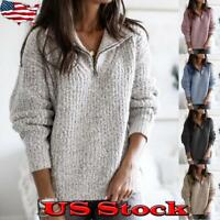 Women Zip Pullover Long Sleeve Knitwear Sweatshirt Jumper Coat Sweater Warm US
