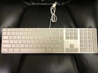 Apple A1243 Wired USB Keyboard White Aluminum  MB110LL/A with extension cable