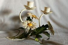 Vtg Italian Tole Toleware Metal Candlestick Wall Scone Yellow White Daisy Flower
