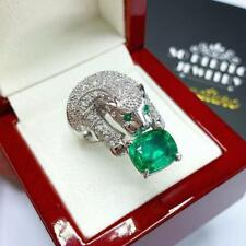 Extremely Unique 7.44 Carats Cushion Emerald Solid Panther Gorgeous Silver Ring