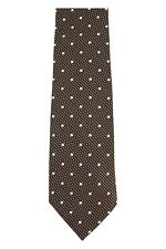 Tom Ford 100% Silk Neck-Tie White Polka Dots on Olive Brown