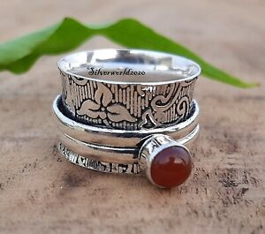 Carnelian Spinner Ring 925 Sterling Silver Plated Handmade Ring Size 6 zz607