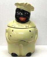VINTAGE 1940s PEARL COOKY BLACK AMERICANA CHEF COOKIE JAR 22K GOLD TRIM