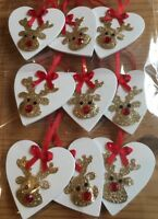9 X Reindeer Christmas Decorations Shabby Chic Real Wood Heart Glitter Red Bows