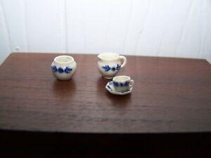 1:12 - 1:24 Jean Tag IGMA Porcelain Sugar Bowl Pitcher & Cup/saucer Miniature