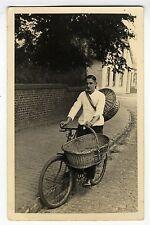 Rariltät Orig. AK Fahrrad Bäcker Brötchenausträger