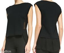 NWT $265 Theory Cotton Cashmere Top Silk Trim in Black Size S