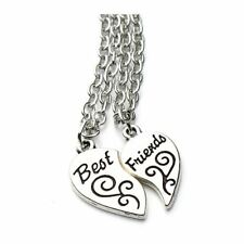 Set Two Halves Love Heart Bff Women's Girls 'Best Friends' Pendant Necklace