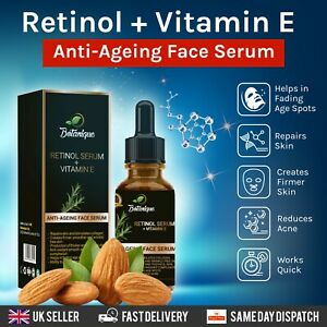 ORGANIC RETINOL 2.5% FACE SERUM WITH VITAMIN E ANTI-AGEING FOR WRINKLE FREE SKIN