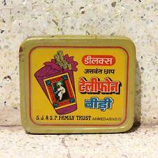 Old Vintage Beautiful Handmade TELEPHONE BIDI Litho Print Advertising Tin Box#05