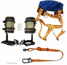 Tree Climbing Spike Set Safety Belt With Straps Adjustable Lanyard 2Carabine