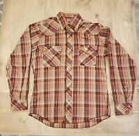 Wrangler Men's Western Plaid Long Sleeve Shirt Snap Buttons Orange Brown Size M