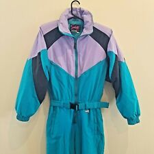 Vintage Subello Womens Snow Suit Size 12 Teal Purple Blue One Piece Ski Outfit