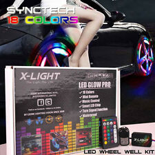 "FLEXIBLE LED WHEEL WELL FENDER LIGHTS LIGHTING KIT MUSIC CONTROL 4x 24"" strips"