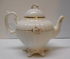 White and Gold Teapot Flower Stem Top Flowers Ribbed Six Footed Bottom Vintage