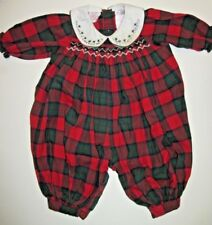 Allison Ann one piece long sleeve & legs romper smocked red green plaid 0-3 mo