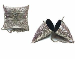 Handmade Indian brass clutch Pillow purse wallet Women white metal bag eid offer