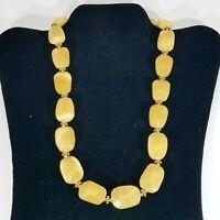 "Beautiful Chunky Yellow Butterscotch Stone Beaded Necklace 22"" Toggle Clasp"