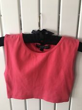 Ladies Top Size 8 - Pink Cropped Vest Top By Petite Topshop