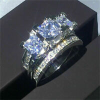 Luxury White Sapphire Love Wedding Ring Set Silver Engagement Party Jewelry Gift