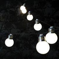 10 STRING BULB SOLAR OUTDOOR FAIRY LED LIGHT HANGING GARDEN PARTY WHITE