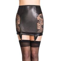 Wetlook Vinyl Leather Lace Hollow Stocking Hold Up Skirt
