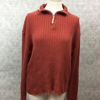 Woolrich XL Womens Cayenne Orange Quarter Zip Pullover Ribbed Sweater