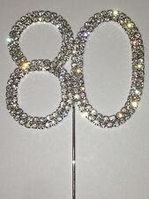 Rhinestone Number 80 Birthday 80th Diamond Anniversary Cake Cupcake Top Topper