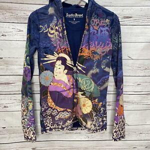 Lucky Brand Womens Full Zip Hoodie Asian Print Dragon Geisha Waves Graffiti S