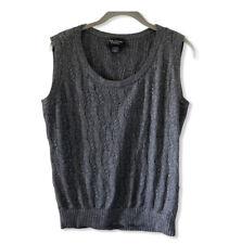 St. John Couture Women's Cashmere Angora Sweater Vest Sleeveless Gray Silver