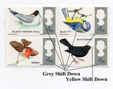GB QEII ~ 1966 ~ SG 696 - 699 blocco di 4 ~ errore Grey & Giallo Maiusc ~ Gomma integra, non linguellato