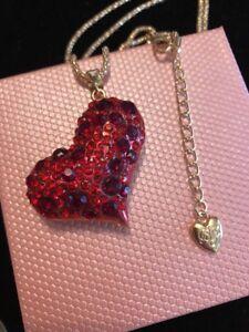 Betsey Johnson Necklace Red Heart  GOLD CRYSTALS  Gift Box Organza Bag LK