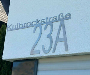 EDELSTAHL Hausnummer Straßen Namen Schild Straßenschild Ziffer Zahl 60cm x 27cm