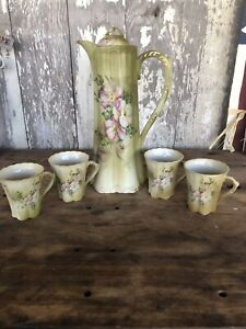 Vintage Cocoa Server Dogwood Pattern Green Nippon Hand Painted Set Of 5