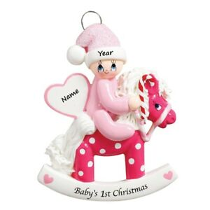 PERSONALIZED Babys First Christmas Girl on Pink Rocking Pony Horse Ornament 2021