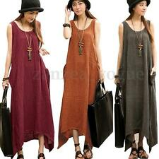 Zanzea Women Summer Sleeveless Cotton Linen Long Maxi Dress Beach Boho Sundress