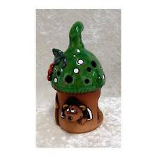 Windlicht Pilz grün als Haus mit Igel 130107 aus Keramik 21 cm hoch