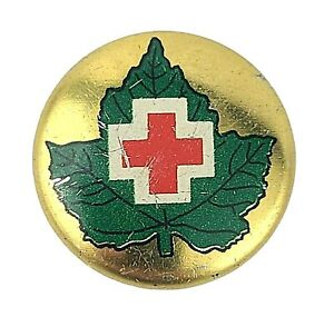 Canadian Junior Red Cross Button Pin VTG 1950 Green Gold Canada Maple Leaf 12mm