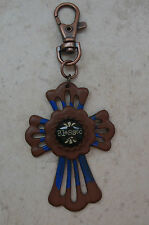 BLESSED INDIBLUE CROSS KEY RING/PURSE CHARM  HANDCRAFTED BY *KELLYS*KOUTURE*