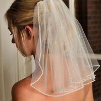 Beaded Wedding Veil Short White /Ivory Bridal Veils 1T 45cm with comb