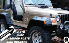 """Jeep TJ Wrangler 3 1/2"""" Wide Highly Polished Diamond Plate Rocker Panel Set"""