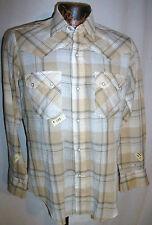 LEVIS Big E Brown Plaid pearl snap Western Shirt Mens M Sawtooth Distressed