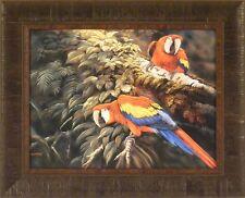 MACAWS TALK by Gamini Ratnavira Parrots Birds FRAMED PRINT 17x21 PICTURE