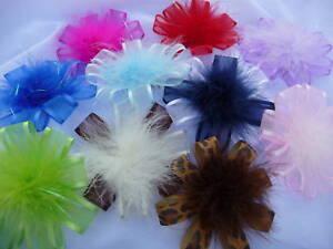 Custom Satin Organza Hair Bow Marabou Feather Puff  NEW