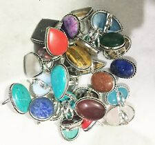 BIG CABOCHONS RINGS LOT 1000 PCS 925 SILVER OVERLAY JEWELRY
